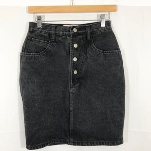 Vintage Jordache Black Button Fly Denim Skirt S